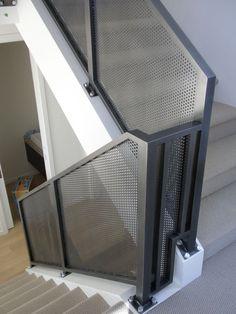 aluminium handrail Metal Stairs, Glass Stairs, Deck Stairs, Staircase Railings, Stairways, Aluminum Handrail, Aluminium Windows, Railing Design, Staircase Design