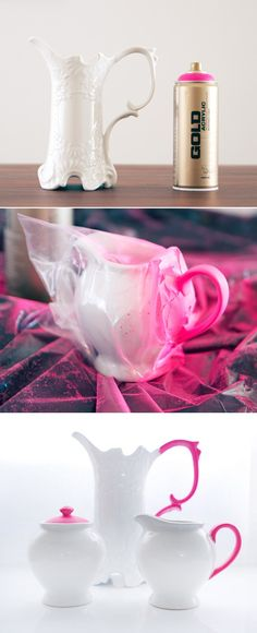 Chic DIY: update basic pottery with some neon spray paint.