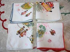 Vintage Asian Inspired Cotton Handkerchiefs 4-Piece Set