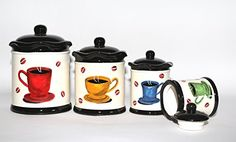 Tuscany Colorful Coffee Bean, Hand Painted Canister Set of 4, 83301 by ACK  A great look for a coffee kitchen decor theme!