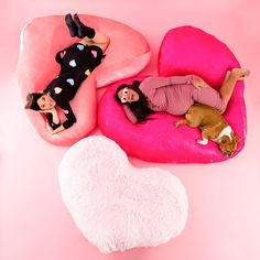 Enter the Ultimate Comfort Zone With These DIY Heart Floor Pillows via Brit + Co Cute Cushions, Diy Pillows, Floor Pillows, Huge Bean Bag Chair, Lazy Boy Chair, Crafts To Make, Diy Crafts, Heart Pillow, Happy Vibes