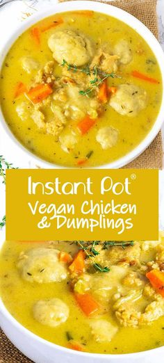 Instant Pot Vegan Chicken And Dumplings Healthier Steps - This Amazing Instant Pot Vegan Chicken And Dumplings Is So Easy To Prepare Full Of Flavor With Soy Curls Soft Fluffy Gluten Free Dumplings Carrots Celery In A Delicious Broth Vegan Dinner Recipes, Vegan Dinners, Whole Food Recipes, Vegetarian Recipes, Healthy Recipes, Recipes With Vegan Chicken, Instapot Vegan Recipes, Gluten Free Dumplings, Vegan Dumplings