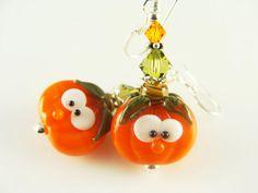 Orange Dangle Earrings, Glass Bead Earrings, Pumpkin Beaded Earrings, Halloween Lampwork Earrings, Lampwork Jewelry, Fall Earrings