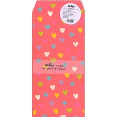Cute Envelope Set with coloured hearts on apink background. Set of 5 envelopes, size 9x19cm.