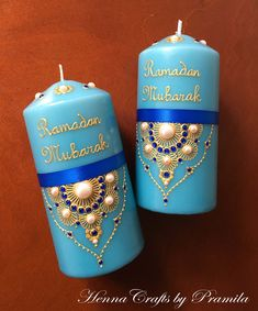 Ramadan Mubarak, Ramadan Decoration, Islamic Decor, Islamic Gift, Muslim Decor, Eid Party/Gifts, Eid Decorations, Set of 2 Ramadan Candles by HennaCraftsbyPramila on Etsy https://www.etsy.com/ca/listing/575618470/ramadan-mubarak-ramadan-decoration