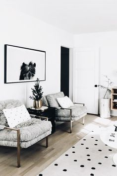 Grey Armchairs | Polka Dot Rug | Modern Home Decor