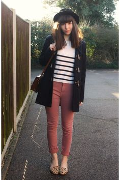 Duffle coat, coloured jeans and stripe shirt, and flats ( minus the print )