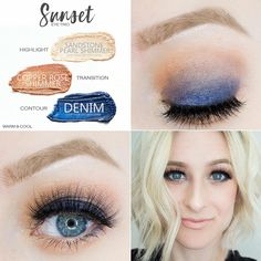 The Sunset ShadowSense Trio: Sandstone Pearl Shimmer, Copper Rose Shimmer and Denim. Bravo LipSense and MakeSense Foundation in Fawn. Love this look!! For more makeup looks contact me Distributor #406510