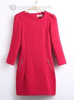 Perfect Long Sleeves Slim Double Zipper Woolen Dress : Tidebuy.com