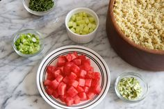 New way to use quinoa you hadn't thought of: Quinoa Salad with Watermelon, Cucumber and Mint. Cool and easy for Phase 1 (without oil) or Maintenance.