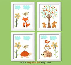 Forest friends Nursery Art Print Set Kids Room by SugarInspire