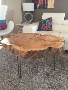 Tree Trunk Table with Metal Legs, Wood Coffee table with hairpin legs, Coffee…