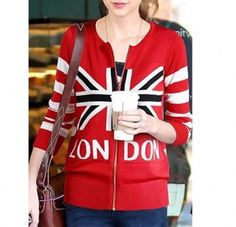 Taylor Swift same style red sweater London British flag sweatshirt for girls