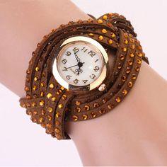 Vintage Leather Bracelet Woman Rivet Bracelet Quartz Wrist Watch Coffee - $4.07