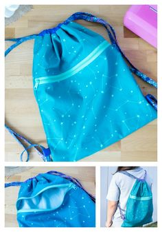 DIY drawstring backpack with an easy zipper pocket My Easy Peasy Drawstring Backpack tutorial gets even better because now I'm adding a zippered pocket! Drawstring Backpack Tutorial, Drawstring Bag Pattern, Backpack Pattern, Drawstring Bags, Wallet Pattern, Bag Pattern Free, Bag Patterns To Sew, Sewing Patterns Free, Free Sewing