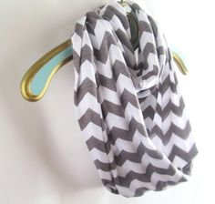 Gray Chevron Infinite Scarf soft -Jersey knit Ready to ship. $19.50, via Etsy.