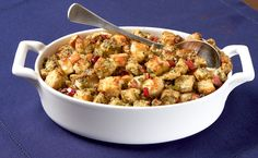 Subtle sage and fall apple are the perfect flavour pairing for cozy winter dinners. Prep and freeze up to 3 weeks ahead, then bake in a large casserole dish to serve on the side. Easy Thanksgiving Recipes, Holiday Recipes, Great Recipes, Dog Food Recipes, Favorite Recipes, Thanksgiving Feast, Holiday Meals, Cranberry Stuffing, Apple Stuffing