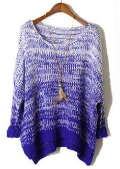 Blue Gradients Batwing Long Sleeve Loose Sweater pictures