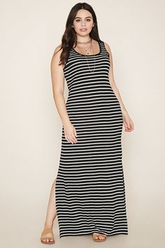 Forever 21+ - A sleeveless knit maxi dress featuring an allover striped pattern…