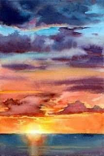 35 Easy Watercolor Landscape Painting Ideas To Try - acuarela Watercolor Sunset, Easy Watercolor, Watercolor Landscape, Watercolour Painting, Watercolours, Watercolor Beginner, Sunset Landscape, Watercolor Fashion, Landscape Lighting