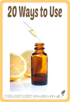 20 Ways to use lemon essential oil! Everything from cleaning the microwave, pests in the garden, natural highlights, whiter teeth, and tons of homemade beauty/body products!