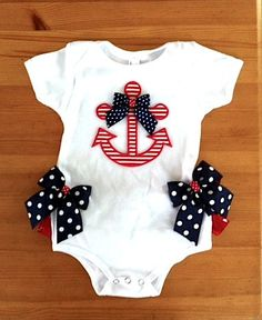 Fourth of July Anchor onesie by ChasenLondon on Etsy Baby Girl Fashion, Toddler Fashion, Kids Fashion, My Baby Girl, Our Baby, Baby Girls, Baby Time, Baby Sewing, Trendy Baby