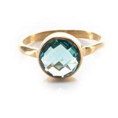 Blue Round Topaz Ring