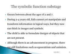  Occurs between about the ages of 2 and 7.   During 2-4 years old, kids cannot yet manipulate and  transform information...