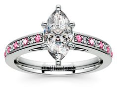 Marquise Cathedral Diamond & Pink Sapphire Gemstone Engagement Ring in Platinum  http://www.brilliance.com/engagement-rings/cathedral-diamond-pink-sapphire-gemstone-ring-platinum