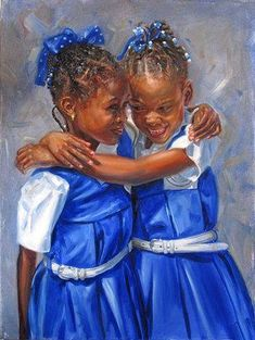 A hug: Jonathan Guy Gladding Black Love Art, Black Girl Art, My Black Is Beautiful, Art Girl, Black Girls, African American Art, African Art, Arte Latina, Natural Hair Art