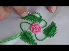 Herringbone Stitch(Filling Flower&Leaf)-Chain Stitch-Hand Embroidery Tutorials By Nagu's Handwork Today we are making Leaf stitch. Don't forget to like, share and… Hand Embroidery French knot Stitch Designs by Amma Arts The Hungarian Braided Chain Stit Hand Embroidery Flower Designs, Embroidery Leaf, Hand Embroidery Videos, Embroidery Stitches Tutorial, Learn Embroidery, Silk Ribbon Embroidery, Embroidery Techniques, Hand Embroidery Patterns, Applique Tutorial