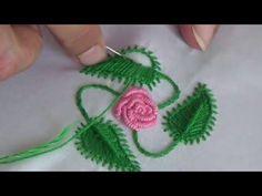 Herringbone Stitch(Filling Flower&Leaf)-Chain Stitch-Hand Embroidery Tutorials By Nagu's Handwork - YouTube