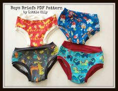 PDF Pattern, Boys Underwear Briefs Size 2-7