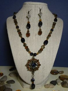 Brown and Navy Beaded Pendant Necklace with by Alisonsjewelryshop, $19.98