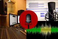 Rockin' DIY Home Audio Recording Studio Page - Mixing Board, Graphical Sound Wave, and Microphones