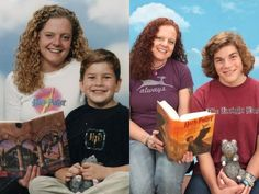 mom and son celebrate ten years of Harry Potter love together. I thought this was super cute.