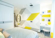 Yellow & white, in color and graphic pattern // Kelly Hoppen Interiors Girl Bedroom Designs, Kids Bedroom, Kids Rooms, Morden Bedroom, Kelly Hoppen Interiors, Study Table Designs, Wardrobe Door Designs, Study Rooms, Kids Room Design