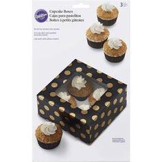 Black and Gold Cupcake Box 4 Cavity