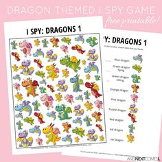 Looking for free printable I spy games for kids? I love this dragons I spy game printable - Kids education and learning acts Spy Games For Kids, I Spy Games, Free Games, Dragon Kid, Dragon Party, Dragon Games, Learning Activities, Activities For Kids, Preschool Ideas