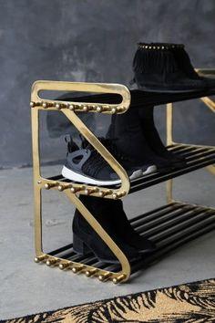 Three Tier Black & Brass Shoe Rack from Rockett St George Slim Shoe Rack, Narrow Shoe Rack, Black Shoe Rack, Metal Shoe Rack, Shoe Rack Bench, Shoe Storage Rack, Narrow Shoes, Shoe Racks, Rockett St George
