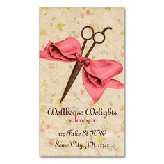 vintage girly hair stylist pink bow floral shears business card template