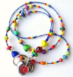 COLORFUL HEART Beaded ID Watch Lanyard by CJsInspirations on Etsy, $24.00