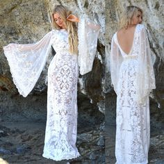 Sheer Angel Sleeves Ivory Wedding Dress Back by SaldanaVintage