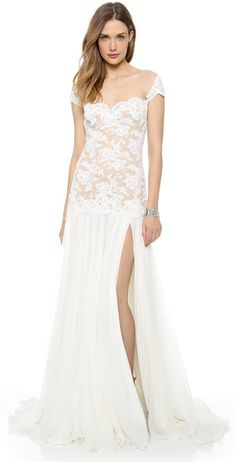 Embroidered Lace Drop Waist Gown - Lyst