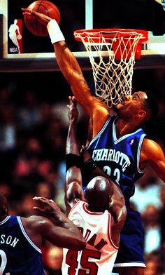 Alonzo Mourning blocks Michael Jordan