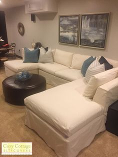 Cozy Cottage Slipcovers Custom Slipcovers, Sectional Slipcover, Living Room Sectional, Cozy Cottage, Living Room Decor, Upholstery, Couch, Sewing, Modern