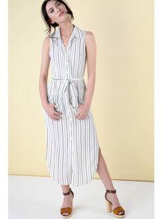 8ead933400132 White and black striped midi shirt dress