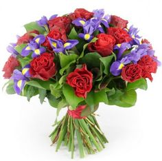 WhiteAngelFlowers Wonderful Bouquet with FREE Delivery - Fresh Red Roses and Blue Iris Flowers Perfect for Birthdays, Anniversaries and Thank You Gifts Blue Iris Flowers, Bunch Of Flowers, Fresh Flowers, Red Roses, Rose Delivery, Flowers Delivered, Thank You Gifts, Flower Art, Floral Arrangements