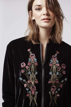 Velvet Embroidered Bomber Jacket - Topshop