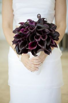 Black cala lilies with fronds!